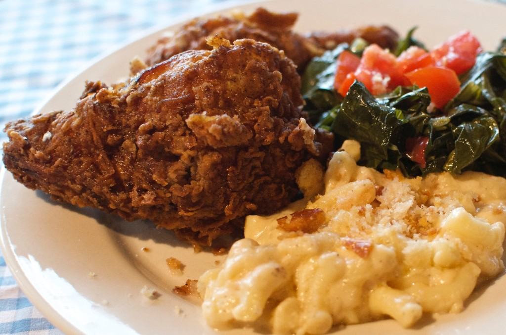 Drums & Crumbs Fried Chicken with Mac & Cheese and Collard Greens
